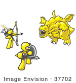 #37702 Clip Art Graphic Of Yellow Guy Characters Fighting A Dragon