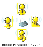 #37704 Clip Art Graphic Of Yellow Guy Characters Wearing Bluetooth Headsets During A Meeting