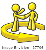 #37706 Clip Art Graphic of Yellow Guy Characters in an Arrow, Shaking Hands by Jester Arts