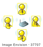 #37707 Clip Art Graphic Of Yellow Guy Characters With Headsets Talking In A Meeting
