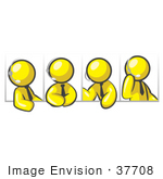 #37708 Clip Art Graphic Of Yellow Guy Characters In Different Poses Wearing Headsets