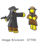 #37709 Clip Art Graphic Of Yellow Guy Characters Dueling