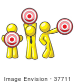 #37711 Clip Art Graphic Of Yellow Guy Characters Holding Targets