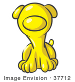 #37712 Clip Art Graphic Of A Yellow Puppy Dog