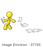 #37720 Clip Art Graphic Of A Yellow Guy Character Dropping Papers