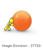 #37723 Clip Art Graphic Of A Yellow Guy Character Pushing An Orange Orb