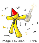 #37726 Clip Art Graphic Of A Yellow Guy Character Partying