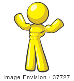 #37727 Clip Art Graphic Of A Yellow Guy Character Flexing His Muscles