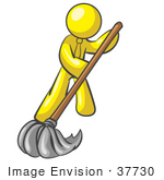 #37730 Clip Art Graphic Of A Yellow Guy Character Mopping