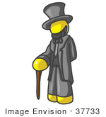#37733 Clip Art Graphic Of A Yellow Guy Character As Abraham Lincoln
