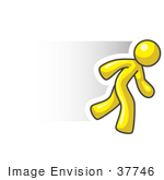 #37746 Clip Art Graphic Of A Yellow Guy Character Running