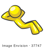 #37747 Clip Art Graphic of a Yellow Guy Character Doing Sit Ups by Jester Arts