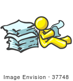 #37748 Clip Art Graphic Of A Yellow Guy Character Reading A Stack Of Papers