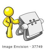 #37749 Clip Art Graphic of a Yellow Guy Character by a Rolodex by Jester Arts