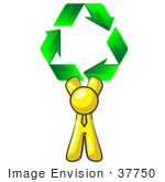 #37750 Clip Art Graphic Of A Yellow Guy Character Holding Recycle Arrows