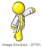 #37751 Clip Art Graphic Of A Yellow Guy Character In A Lab Coat Waving