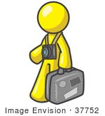 #37752 Clip Art Graphic of a Yellow Guy Character Tourist With Luggage and a Camera by Jester Arts