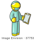 #37753 Clip Art Graphic Of A Yellow Guy Character Surgeon In Scrubs