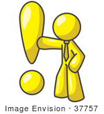 #37757 Clip Art Graphic Of A Yellow Guy Character With An Exclamation Point
