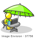 #37758 Clip Art Graphic Of A Yellow Guy Character Working On A Laptop Under An Umbrella