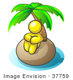 #37759 Clip Art Graphic Of A Yellow Guy Character On An Island