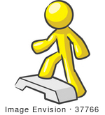 #37766 Clip Art Graphic Of A Yellow Guy Character Doing Steps At The Gym