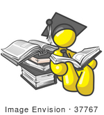 #37767 Clip Art Graphic of a Yellow Guy Character Graduate Reading Books by Jester Arts