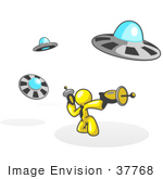 #37768 Clip Art Graphic Of A Yellow Guy Character Fighting Ufos