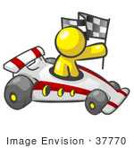 #37770 Clip Art Graphic Of A Yellow Guy Character Racing A Car