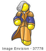 #37778 Clip Art Graphic Of A Yellow Guy Character As George Washington