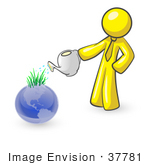 #37781 Clip Art Graphic Of A Yellow Guy Character Watering Earth