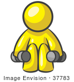 #37783 Clip Art Graphic of a Yellow Guy Character Exercising With Dumbbells by Jester Arts