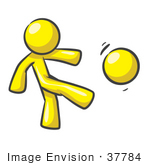 #37784 Clip Art Graphic Of A Yellow Guy Character Kicking A Ball