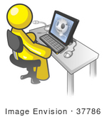 #37786 Clip Art Graphic of a Yellow Guy Character Using a Computer by Jester Arts