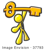 #37793 Clip Art Graphic Of A Yellow Guy Character Holding Up A Skeleton Key