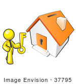 #37795 Clip Art Graphic Of A Yellow Guy Character Holding The Key To A House