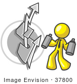 #37800 Clip Art Graphic Of A Yellow Guy Character Spray Painting