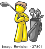 #37804 Clip Art Graphic Of A Yellow Guy Character Golfing
