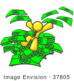 #37805 Clip Art Graphic Of A Yellow Guy Character Jumping Into A Pile Of Cash