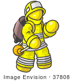 #37808 Clip Art Graphic of a Yellow Guy Character Fireman by Jester Arts