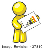 #37810 Clip Art Graphic Of A Yellow Guy Character Holding A Printed Bar Graph