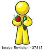 #37813 Clip Art Graphic Of A Yellow Guy Character Holding Veggies