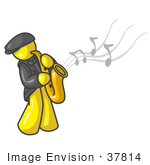 #37814 Clip Art Graphic Of A Yellow Guy Character Playing A Saxophone