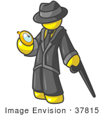 #37815 Clip Art Graphic Of A Yellow Guy Character Checking His Pocket Watch