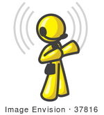 #37816 Clip Art Graphic Of A Yellow Guy Character Wearing A Headset With Signals