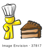 #37817 Clip Art Graphic Of A Yellow Guy Character Chef With Chocolate Cake