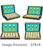 #37818 Clip Art Graphic Of A Yellow Guy Character On Laptop Screens