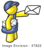 #37822 Clip Art Graphic Of A Yellow Guy Character Delivering Mail