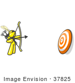 #37825 Clip Art Graphic Of A Yellow Guy Character Shooting Arrows At A Target