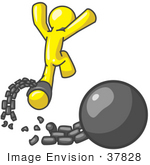 #37828 Clip Art Graphic Of A Yellow Guy Character Breaking Free From A Ball And Chain